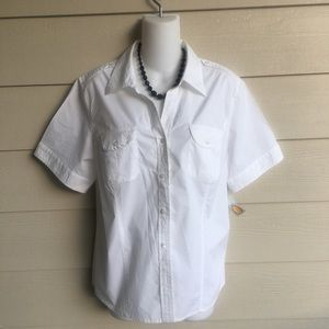 NWT PL White Button Down Shirt Talbots Cotton